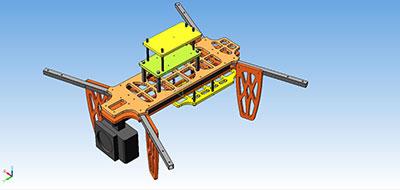 Модель квадрокоптера, выполненная в КОМПАС-3D